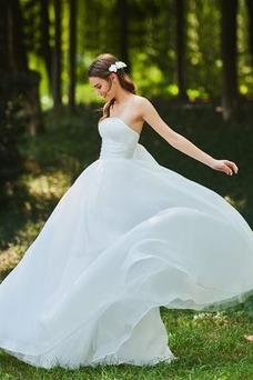 Robe de mariée Au Drapée Orné de Nœud à Boucle Automne Sans Manches