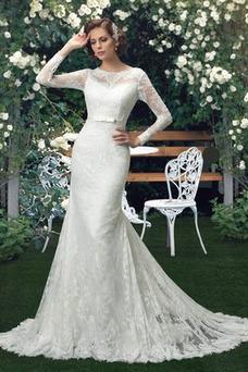Robe de mariée Haute Couvert Tissu Dentelle Taille Naturel Fourreau