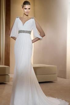 Robe de mariée De plein air Col en V Perle Taille Empire Longueur ras du Sol