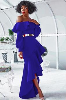 Robe de cocktail Romantique Manche Longue Manquant Asymétrique Épaule Dégagée
