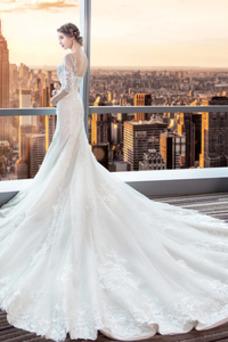 Robe de mariée Traîne Courte Couvert de Dentelle Col Carré Été Satin
