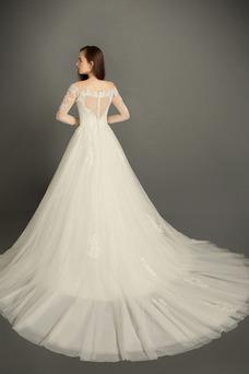 Robe de mariée Tulle Traîne Moyenne Elégant Taille Naturel De plein air