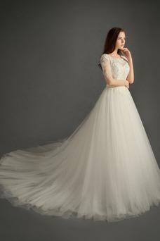 Robe de mariée Traîne Courte Manche Aérienne Appliques Manche Courte