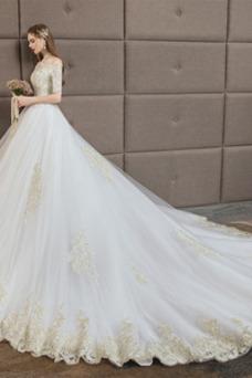 Robe de mariée Taille Naturel Traîne Longue Couvert de Dentelle Lacet