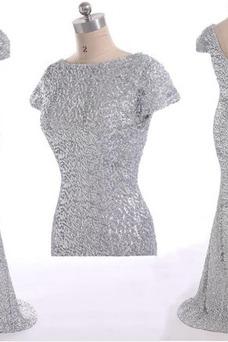 Robe de bal Sirène Taille Naturel Milieu Pailleté Col ras du Cou