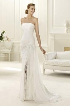 Robe de mariée Bustier Taille Naturel Printemps Traîne Courte Mousseline