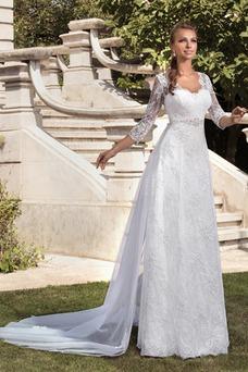 Robe de mariée Traîne Mi-longue Col en V 3/4 Manche Printemps Tissu Dentelle