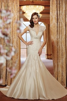 Robe de mariée Sirène Manche Courte Milieu Vintage Mancheron Col en V