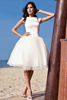 Robe de mariée Taille Naturel Manche Courte Zip Col Bateau Couvert de Tulle