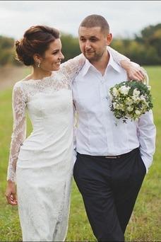 Robe de mariée Chic Dentelle Été Taille Naturel Manche Aérienne Longue