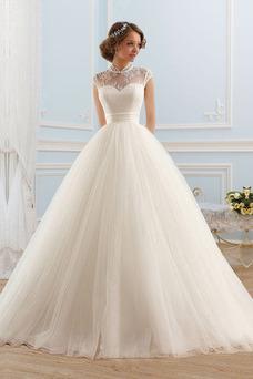 Robe de mariée Col haut Manche Courte Printemps Tulle Eglise Taille Naturel