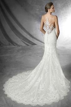 Robe de mariée Tulle Longue Salle Printemps Zip Col Bateau