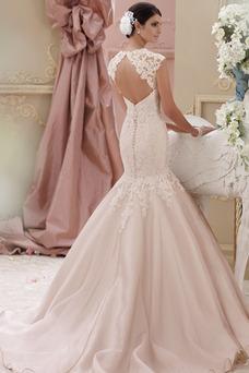 Robe de mariée Sirène Manche Courte Milieu Formelle Taille Naturel