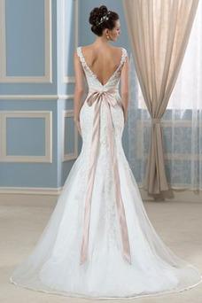 Robe de mariée Sirène Tissu Dentelle Dos nu Sans Manches Plage Cristal