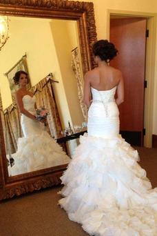 Robe de mariée Sirène Elégant Plage Printemps Organza Au Drapée