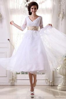 Robe de mariée Tulle Zip Balançoire Col en V Blanche 1/2 Manche