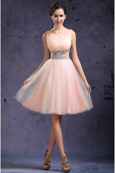 Robe de gala Zip Exclusif A-ligne Couvert de Tulle Perle rose Tulle
