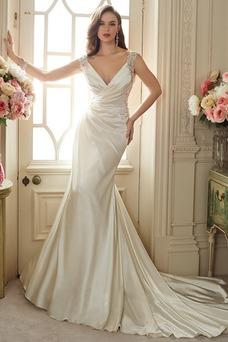 Robe de mariée Sirène Dos nu Satin Élastique Sans Manches Taille Naturel