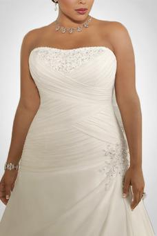 Robe de mariée Mousseline Plissé Automne Sans Manches Longue Taille chute