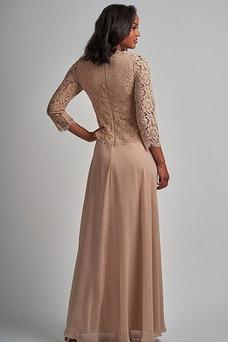 Robe mère de mariée Couvert de Dentelle Formelle Manquant Longue Taille Naturel
