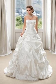 Robe de mariée Dos nu Perle Sans Manches Classe Orné de Rosette Salle