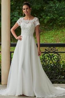 Robe de mariée Fourreau Avec Bijoux A-ligne Manche Courte Automne