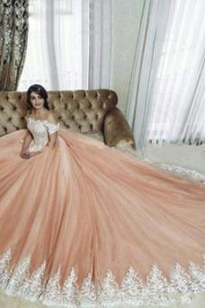 Robe de mariée Luxe Tissu Dentelle Poire Épaule Dégagée Longue Taille Naturel