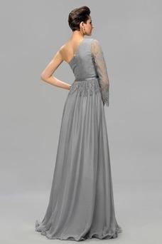 Robe de soirée Zip Manquant Épaule Asymétrique Taille Naturel Manche Asymétrique