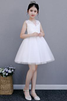 Robe cérémonie fille Glamour Appliques A-ligne Été Zip Tissu Dentelle