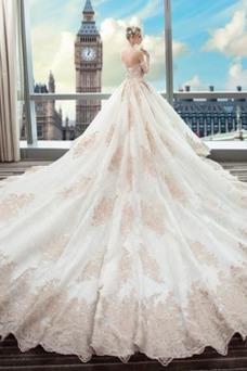 Robe de mariée Longue Manche Longue Salle Manche Aérienne Lacet Long