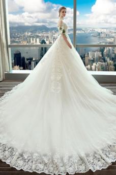 Robe de mariée Manche Courte Épaule Dégagée Satin A-ligne Poire Manche Aérienne