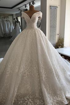 Robe de mariée Traîne Royal Salle Sablier Taille Naturel A-ligne Sans Manches