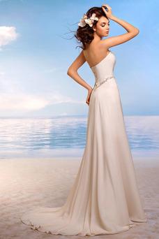 Robe de mariée Bustier Mousseline Ouverture Frontale Longue Dos nu