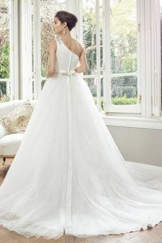 Robe de mariée Tulle Été Manche Courte Cristal Zip Taille Naturel