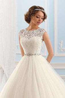 Robe de mariée Princesse Taille Naturel Plage Ruché Manche Courte