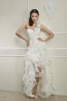 Robe de mariée Traîne Courte Épaule Asymétrique Taille chute De plein air