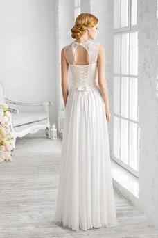 Robe de mariée Fourreau Col haut Simple Haut Bas Trou De Serrure Mousseline