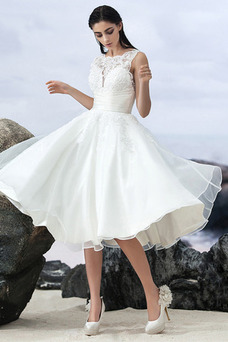 Robe de mariée Organza Col Bateau Taille Naturel Printemps Longueur Mollet
