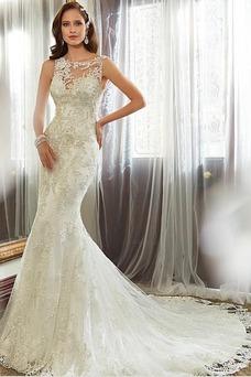 Robe de mariée Vintage Automne Longue Sans Ceinture Sirène Col ras du Cou