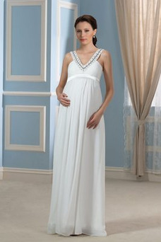 Robe de mariée Simple Mousseline Empire Sans Manches Longueur ras du Sol