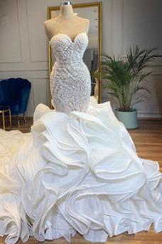 Robe de mariée Lacet Formelle Long Perle Sans Manches Col en Cœur