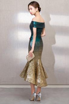 Robe de bal Asymétrique Sirène Chic Épaule Dégagée Pailleté Taille Naturel