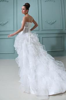 Robe de mariée Perle Fantaisie Asymétrique Bustier Perspectif Satin Élastique