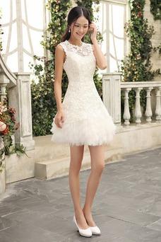 Robe de mariée Courte 2017 Col ras du Cou Été Taille Naturel Haute Couvert