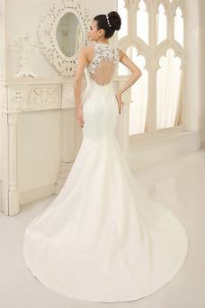 Robe de mariée Milieu Sirène Dentelle Taille Naturel Satin Traîne Courte