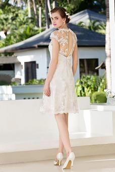 Robe de mariée Mancheron Zip Classe Longueur Genou Appliques Tissu Dentelle