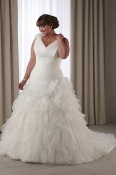 Robe de mariée Hiver Modeste Taille Naturel Sans Manches Salle Traîne Mi-longue