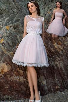 Robe de mariée Longueur Genou Mode de Bal Taille Naturel Informel