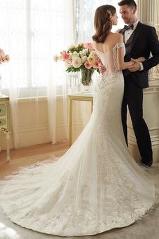 Robe de mariée Tissu Dentelle Manche Courte Salle Mancheron Automne