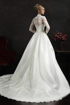 Robe de mariée Mode de Bal Modeste Manche Aérienne Automne Col Élisabéthain